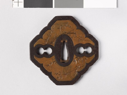 Tsuba with shikunshi, or Four Noble Plants