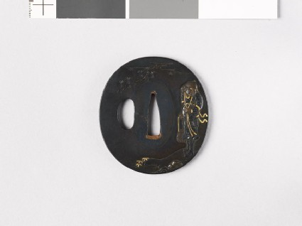 Tsuba depicting a man holding a basket