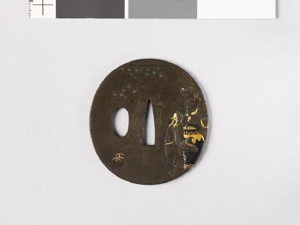 Tsuba depicting the Three Sake Tasters around a wine jar