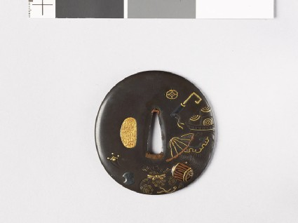 Lenticular tsuba with takaramono, or precious things