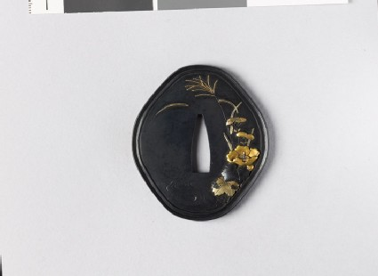 Tsuba with autumn flowers by a stream
