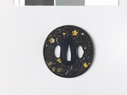 Tsuba with cherry tree and clouds