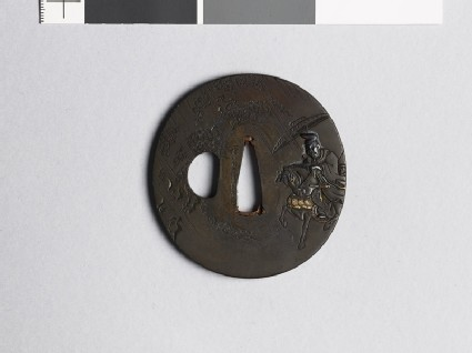 Tsuba depicting a mounted court noble and a peasant