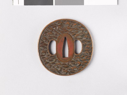 Tsuba with crested waves