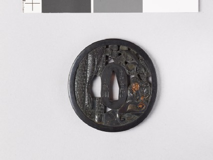Tsuba depicting the Chinese general Kuan Yü with his dragon spear
