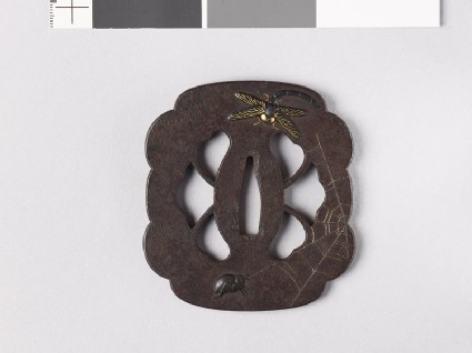 Lobed and mokkō-shaped tsuba with dragonfly, spider, wasp, and webs