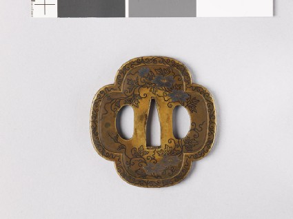 Mokkō-shaped tsuba with clematis