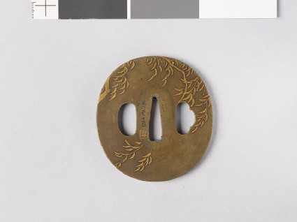 Tsuba with willow branches and swallows