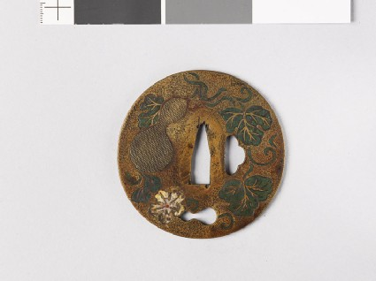 Tsuba with double-gourd plants