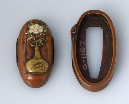 Fuchi and kashira with lotus pod and peony