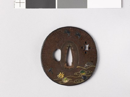 Tsuba with wild geese and shells