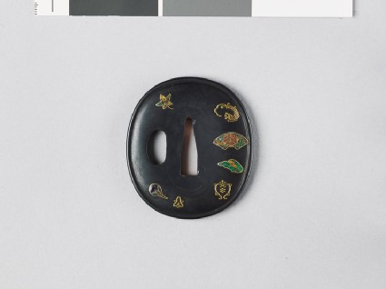 Tsuba with plants and a fan mount