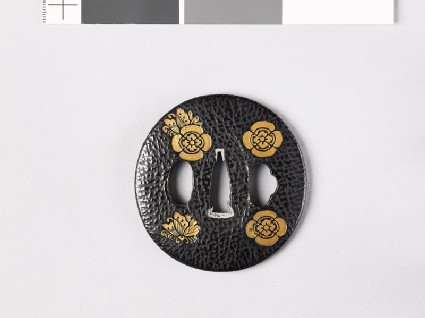 Lenticular tsuba with butterflies and transverse mokkō