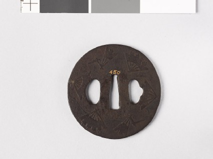 Tsuba with ware-ōgi, or broken folding fans