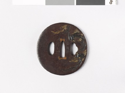 Tsuba with swallows and a willow tree