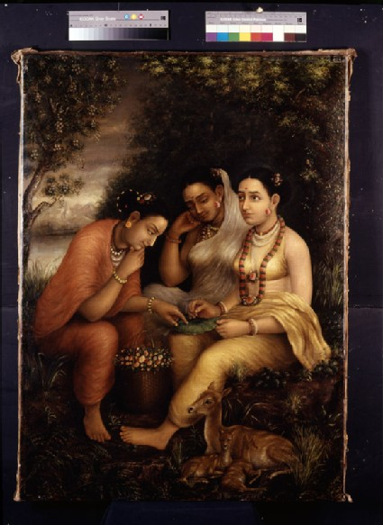 Shakuntala writing a love letter on a lotus leaf