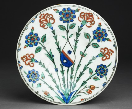 Dish with flower sprays and coat of arms