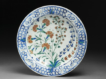 Dish with carnations and hyacinths