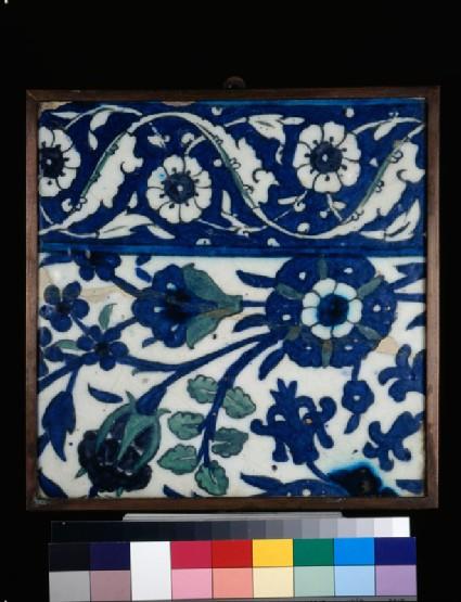 Frieze tile with floral decoration