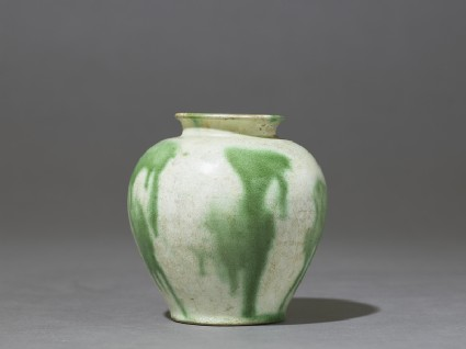 Jar with splashed decoration in green