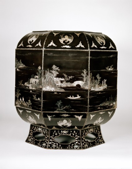Octagonal box with landscape