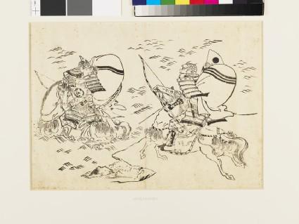 Kumagai no Jirō Naozane challenging Taira-no-Atsumori
