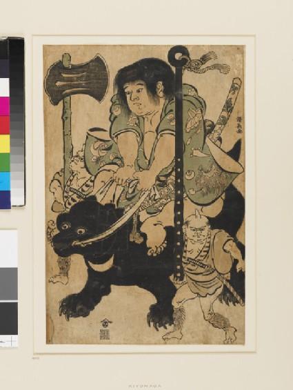 Kintoki riding a bear, two oni carry his club and axe