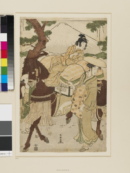 A young boy riding a horse led by a servant, a woman walks alongside