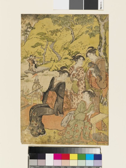 Four young women beneath a tree in summer, one sitting smoking another holding a dog, the third a fan and in the foreground one about to open a firefly cage