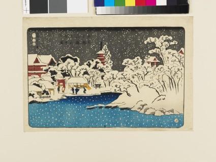 View of snow at Benten HIll, Kinryūzan Temple, Asakusa