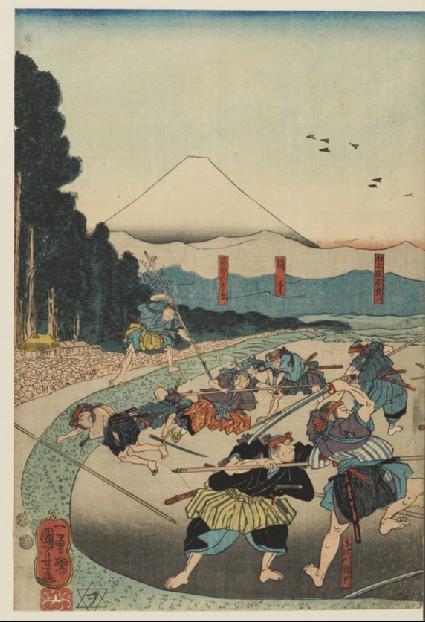 Horibe Yasubei Taketsune, one of the 47 Ronin fighting many enemies