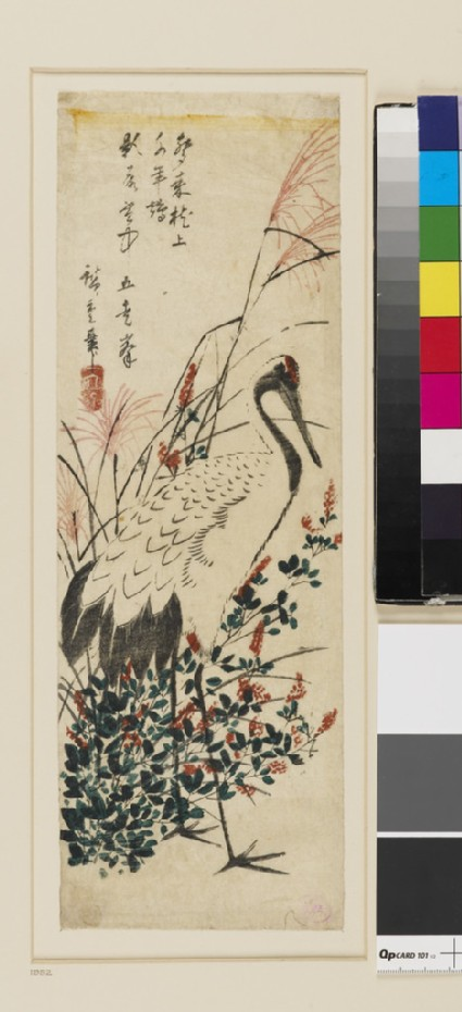 Japanese Pampas Grass, Bush Clover and Red-headed Crane