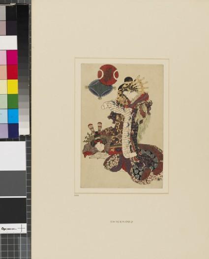 A courtesan representing Jurōjin, God of Longevity, reading a letter, her attendant reading a book beside her