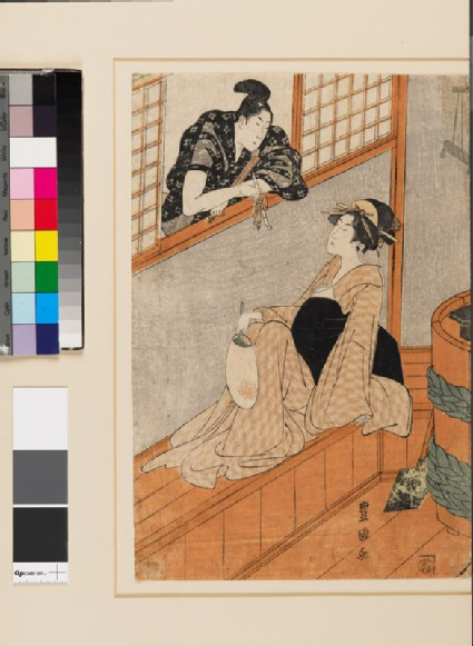 A woman in a bath house talking to a man through the window
