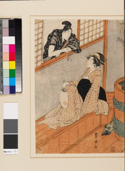 A woman in a bath house talking to a man through the window