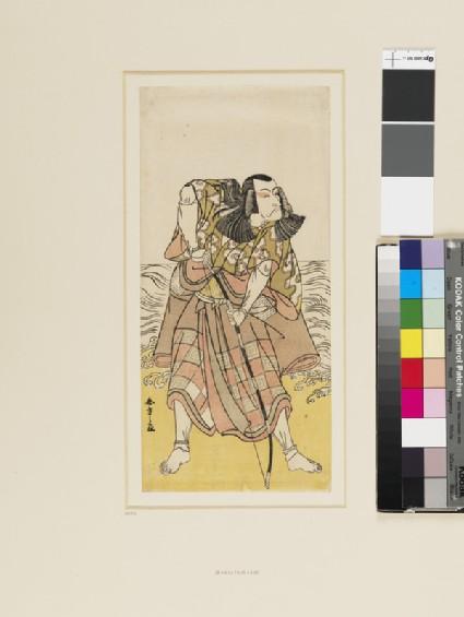 Ichikawa Danjurō as a samurai on the shore, bending a bow
