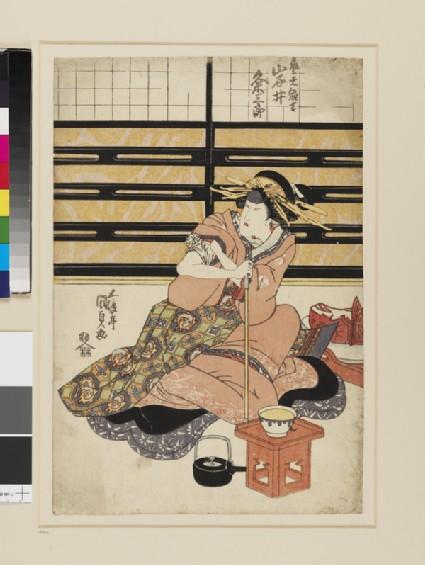 The actor Iwai Kumesaburō playing the Geisha Hinakichi (One sheet from a polyptych)