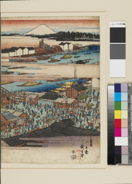 Bridge with busy markets on both sides, boats crowding the river and Fuji beyond clouds in distance