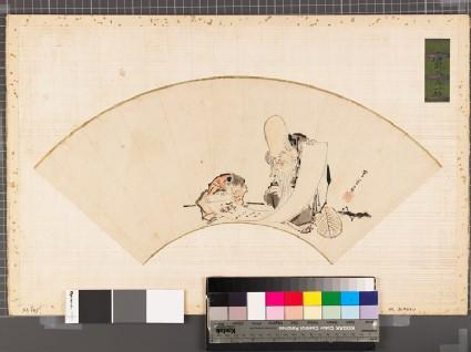 Fukurokuju, one of the Seven Lucky Gods, showing a scroll to a karako, or Chinese boy