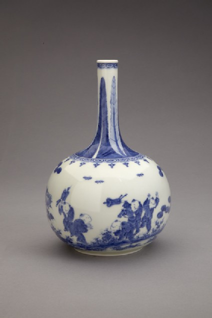 Bottle with Chinese boys flying kites, pines and peonies, and mon crest