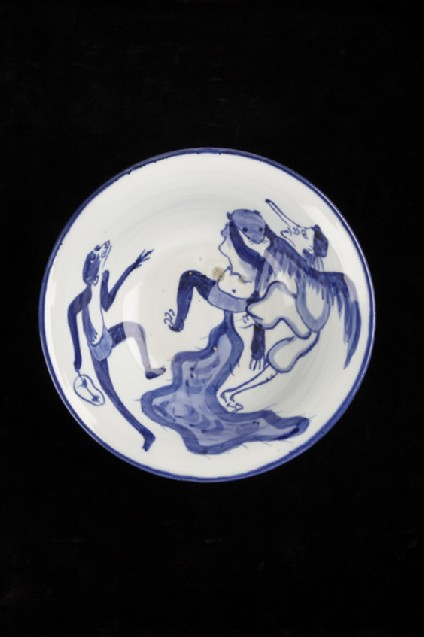 Bowl with a tengu demon, tanuki and monkey