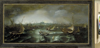 Ships in a Squall on the Haarlemmer Meer with Haarlem in the distance