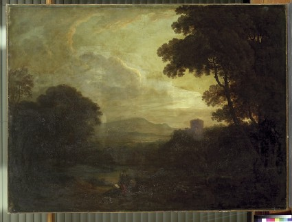 Landscape with a small Lake and a Tower
