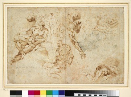 Recto: Michelangelo's Evening (from the Medici tombs) and other studies<br />Verso: Six studies of a man's leg and a skeleton
