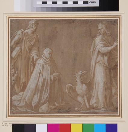 Kneeling Ecclesiastic with two Saints