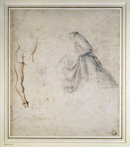 Recto: Back view of a standing man, after Signorelli, and the drapery of a kneeling figure 