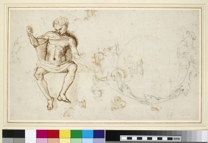 Recto: Studies of a seated man, and of acanthus foliage <br />Verso: Sheet of studies mainly of ornamental details
