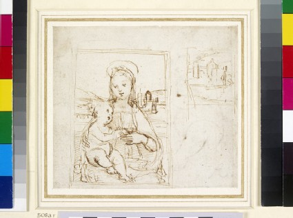 Recto: Study for the Virgin and Child with a book (Virgin of Pasadena)