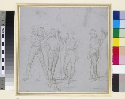 Recto: Group of four standing Soldiers<br />Verso: Two Studies of Amorini