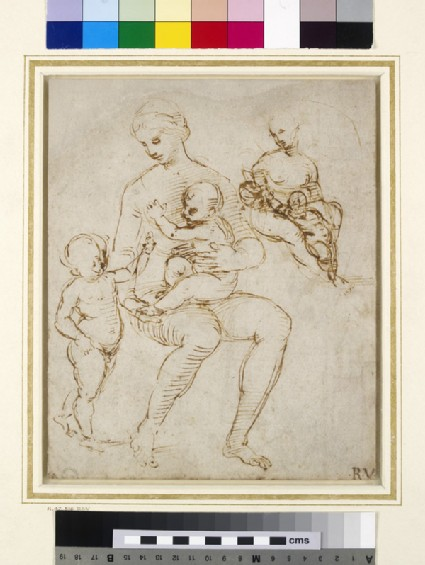 Recto: Two Studies for a Virgin and Child with St John (The Madonna del Cardellino)